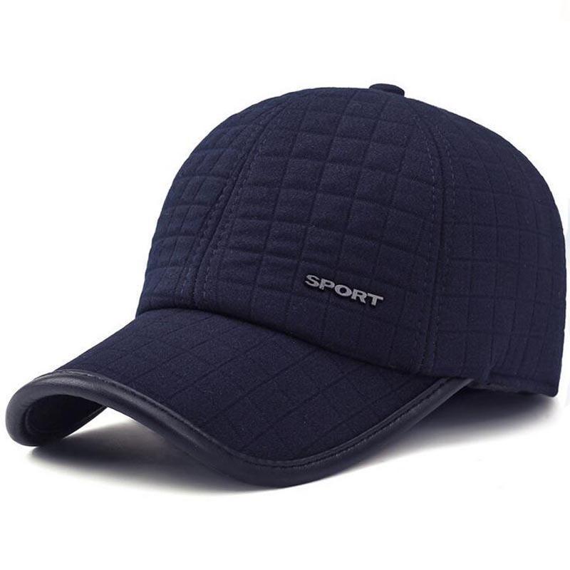 Good Quality 2017 New Simple Baseball Cap Men Winter Caps Old Men Father  Dad Hats Thick Warm Earmuffs Metal Label Baseball Cap Big Hats Hat Stores  From ... 3687d0a8b4f