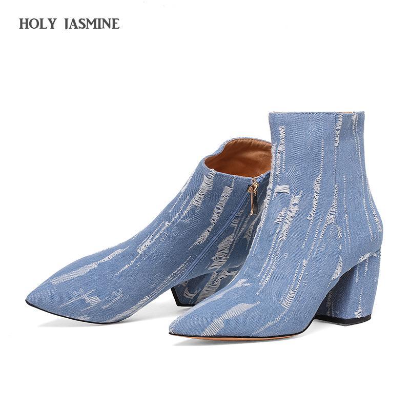 Super Selvedge Spitz Frauen Schuhe Dünne 2018 Neue Loch Reißverschluss Stiefel Fersen Grobe Mädchen Gebrochen Denim Blau Heiße Hohe hxtsrCQdB