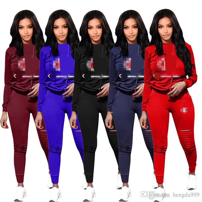 48996b7f0449 Acquista Vendita Calda Donna Sport Tuta Felpe + Pantaloni 2 Pezzi Donna Set  Outfit Colore Solido Hollow Out Donna Felpe Sweat Suit 2018 Vestiti A   15.28 Dal ...