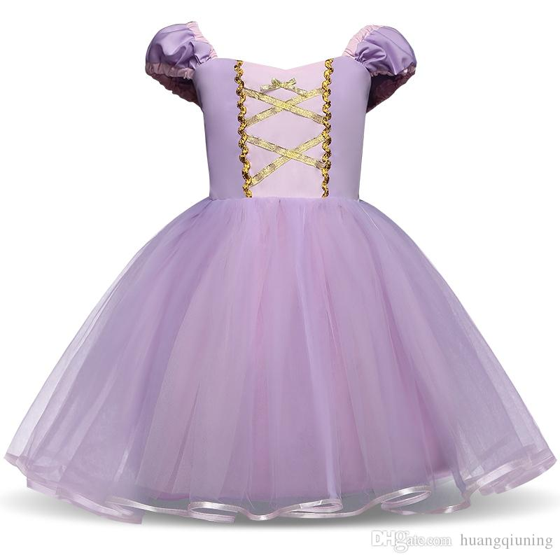 5105bdb88e383 Fantasy Princess Girl Purple Gown Kids Summer Dresses For Girl Tutu Party  Frock Children Cosplay Birthday Dress Up Baby Clothing