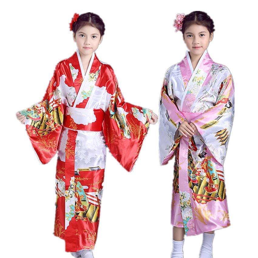 Girls Kimono 2018 Japanese Traditional Dress Performance National Holiday  Costumes 4,12 Years Height 120,150CM Children Kimono
