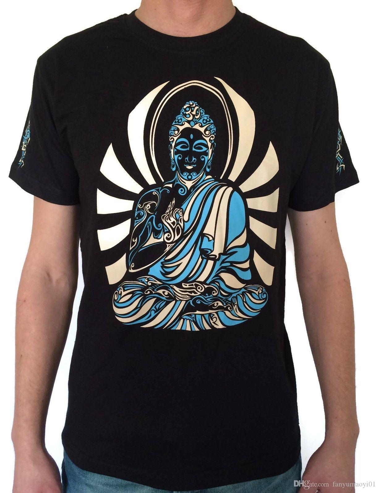1b3ce8cfd96ba8 Print Round Neck Man Psy Buddha Mens Cotton T-shirt Psy Clothes Festival  Goa Psychedelic Art Goa Yoga