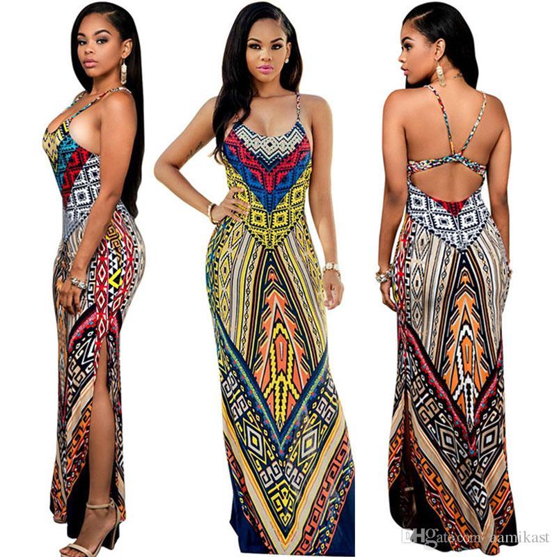 a820ad77e2cc Summer Vintage Boho Casual Women Floral Print Maxi Long Dress Sexy ...