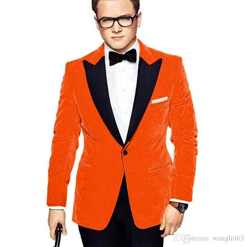 Orange Velvet Men Suits for Prom Party Peaked Lapel Two Piece Wedding Groom Tuxedos Evening Party Suit Jacket Black Pants