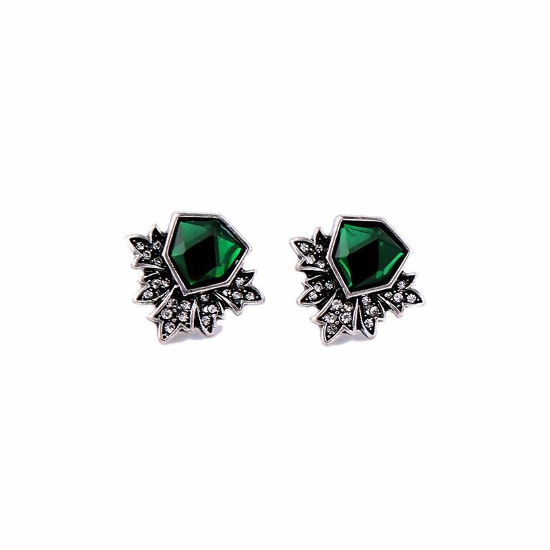 Fashion Brand Jewelry Vintage Silver Green Gem Crystal Wing Stud Earring For Women Accessories Factory Wholesale