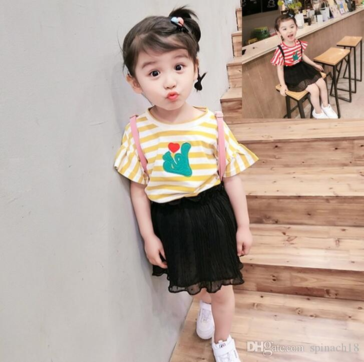 2e261f982e3b 2019 2018 Summer Baby Girls Clothes Set Kids Short Sleeve Stripe T Shirt +  Black Pleated Chiffon Skirt Girl Children Outfits 3977 From Spinach18