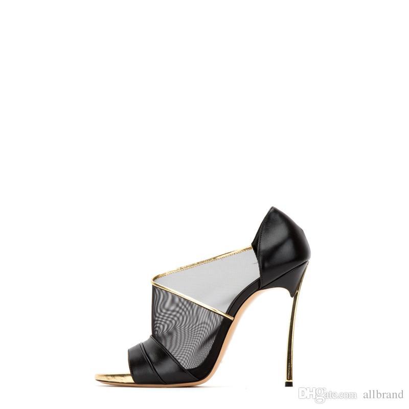 Yaz moda seksi kadınlar siyah deri güzel kadın balık ağzı Örgü deri kaymaz sandalet 10 CM topuk ayakkabı