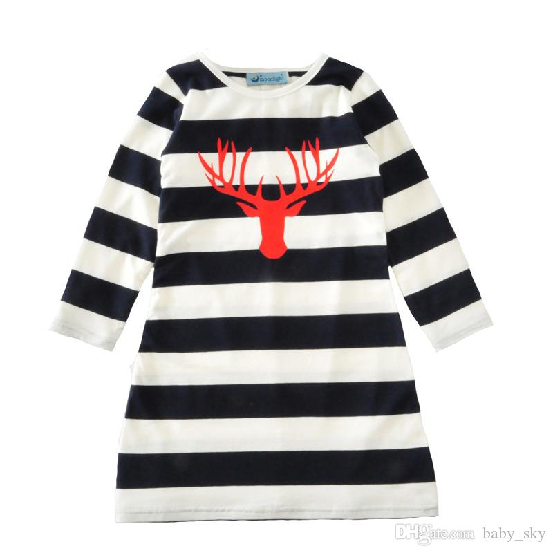 2c814c67e222 Mother And Daughter Dress Stripe Deer Head Print Family Clothes ...