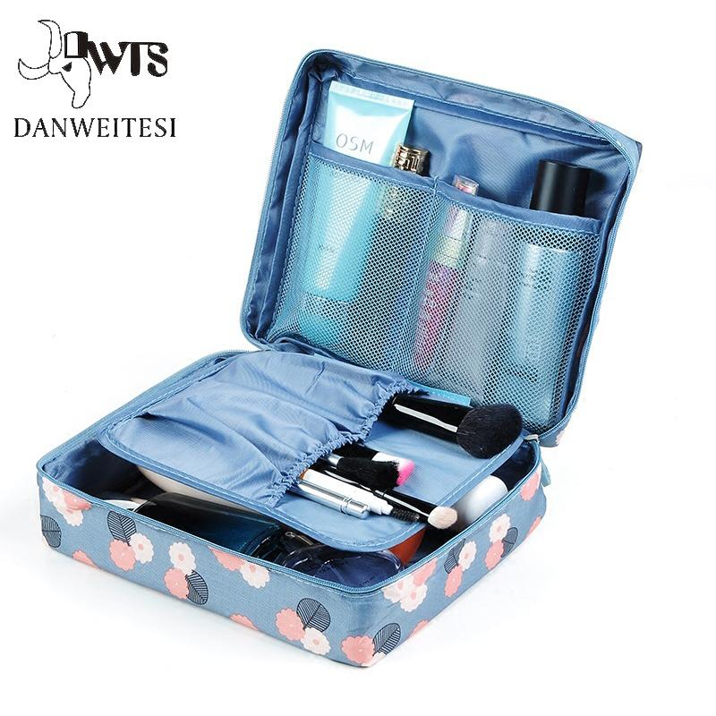 Women Cosmetic Bag Travel Makeup Bag Zipper Organizer Make Up Case Storage Pouch Toiletry Beauty Wash Makeup Cosmetic Box Makeup Artist Case Makeup Train ...