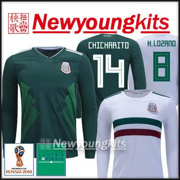 f4fbf298708 2019 2018 World Cup Mexico Home Long Sleeve Jersey Away Football Uniforms  Free World Cup Patchs CHICHARITO DOS SANTOS HERRERA LAYUN Soccer Shirt From  ...