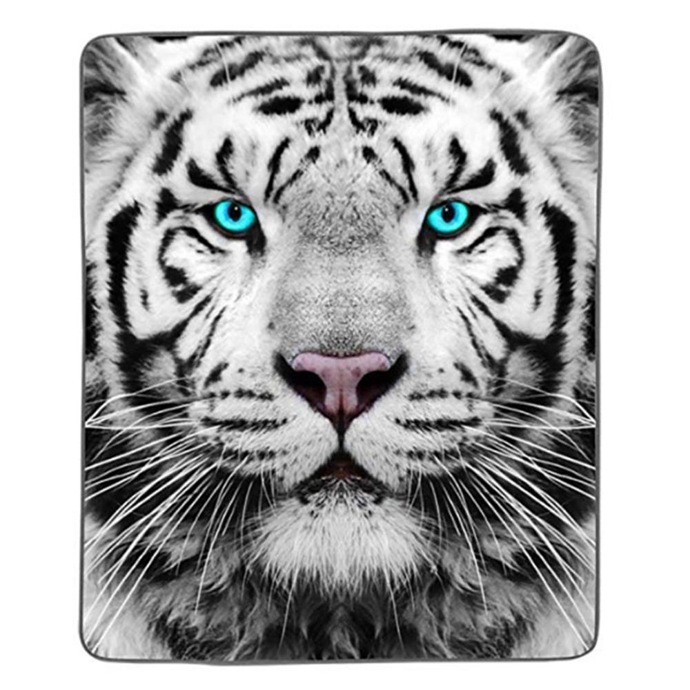 Weiße Tiger Pixel Fleecedecke