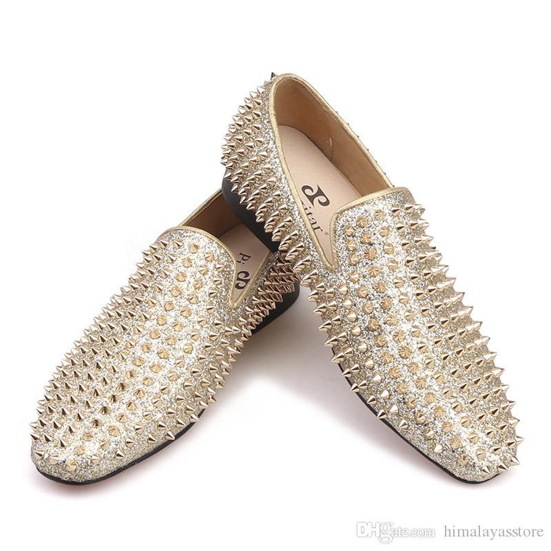 Ручной работы золотые шипы обувь роскошные мужчины кожаные мокасины Fashion Party и свадебные мужские ботинки