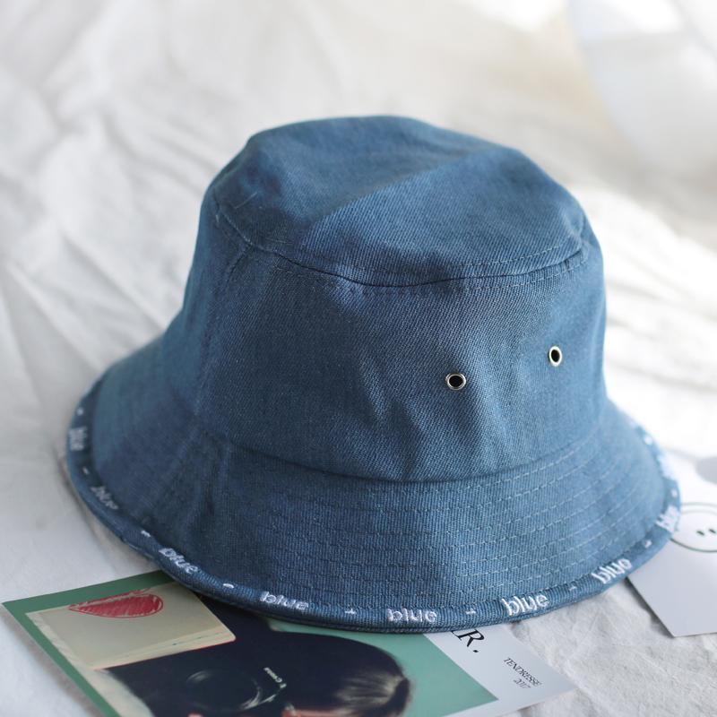 43fd4cfd7 2018 Leisure Outdoor Cowboy Hole Do Old Fisherman Hat Men Women Bucket Cap  Sun Hat Unisex Denim Blue Fashion For Summer Foldable