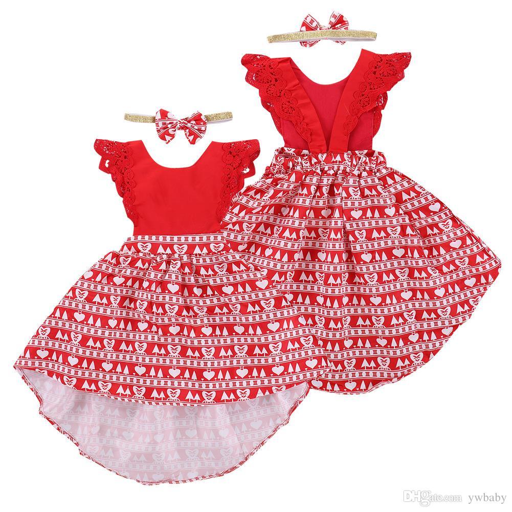Acquista Ragazze Di Natale Abiti Di Fiori Abbigliamento Bambini Principessa  Abito Di Pizzo Vestiti Bimba Vestito Rosso Senza Maniche Abbigliamento  Bambini A ... c030542bf22