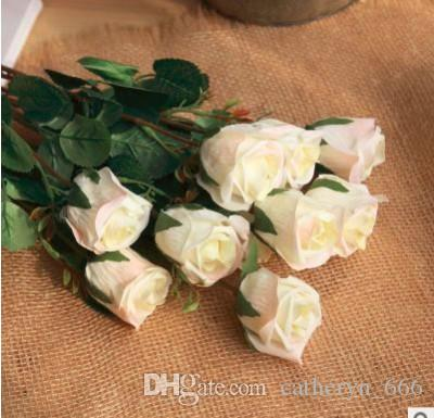 Classic England Style Rose with Leaves Cheap Rose Silk Flower Wedding Ceremon Flower Fake Rose Living Room Deco Mother's Day floar Gift