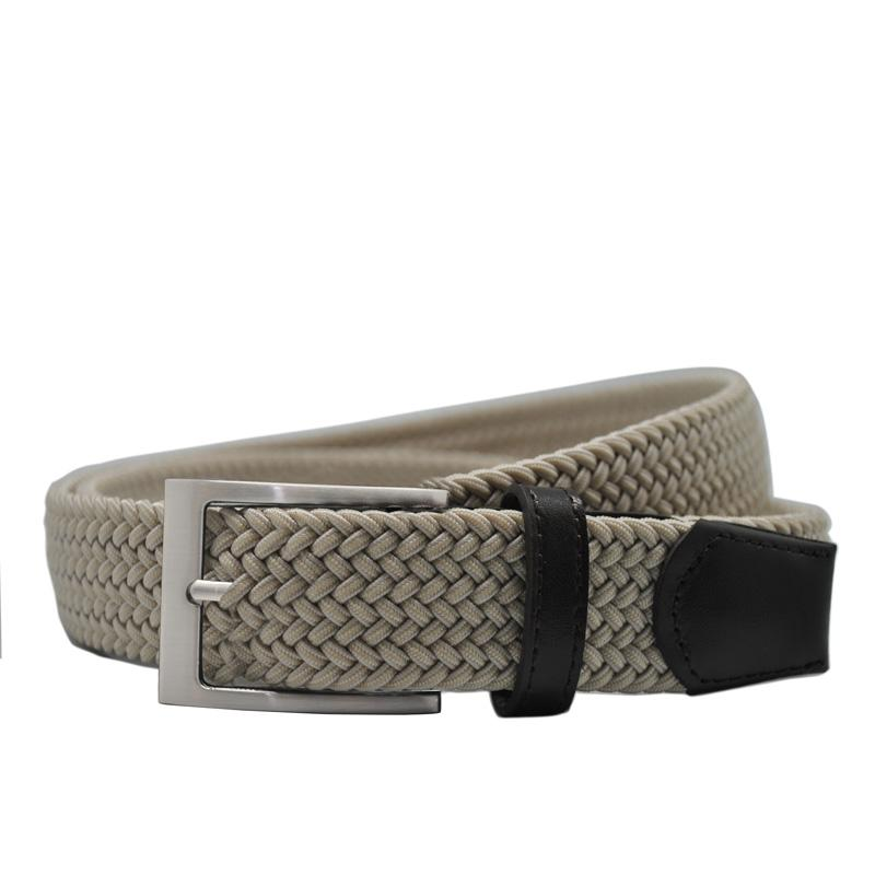 New elastic braided men's belts high quality woven belt brushed metal pin buckle stretch belt for jeans Brown Beige Blue Black