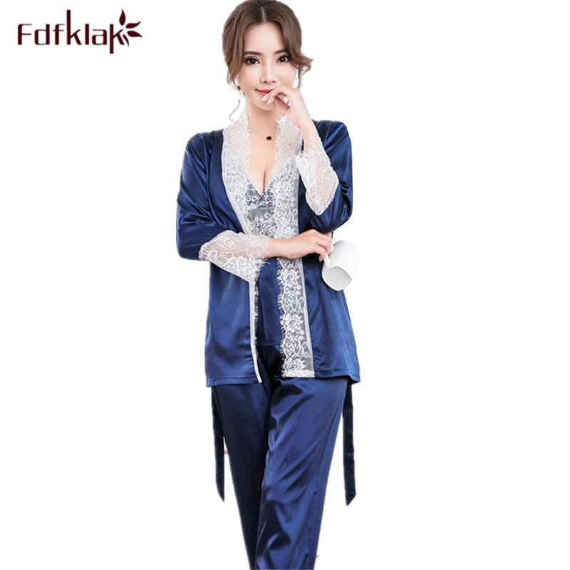 Fdfklak New sexy silk pajamas set sweet lace sleepwear for women spring  autumn home wear 3 pieces pyjamas suits pijama feminino 7ec65eff5