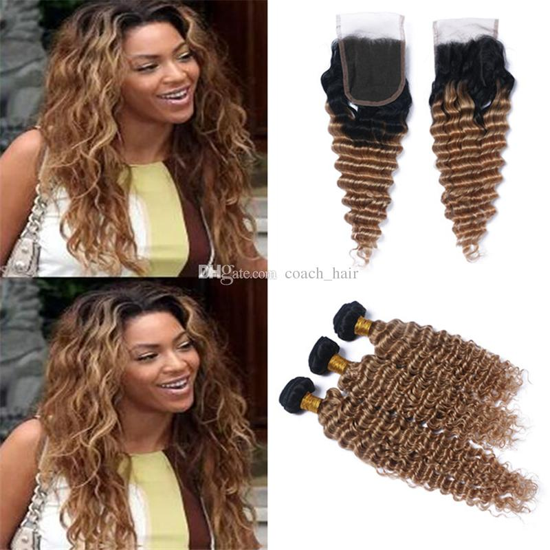 Ombre Deep Wave Curly Honey Blonde Hair Bundles with Lace Closure 1B/27 Brown Blonde Ombre Peruvian Human Hair Weaves with Closure
