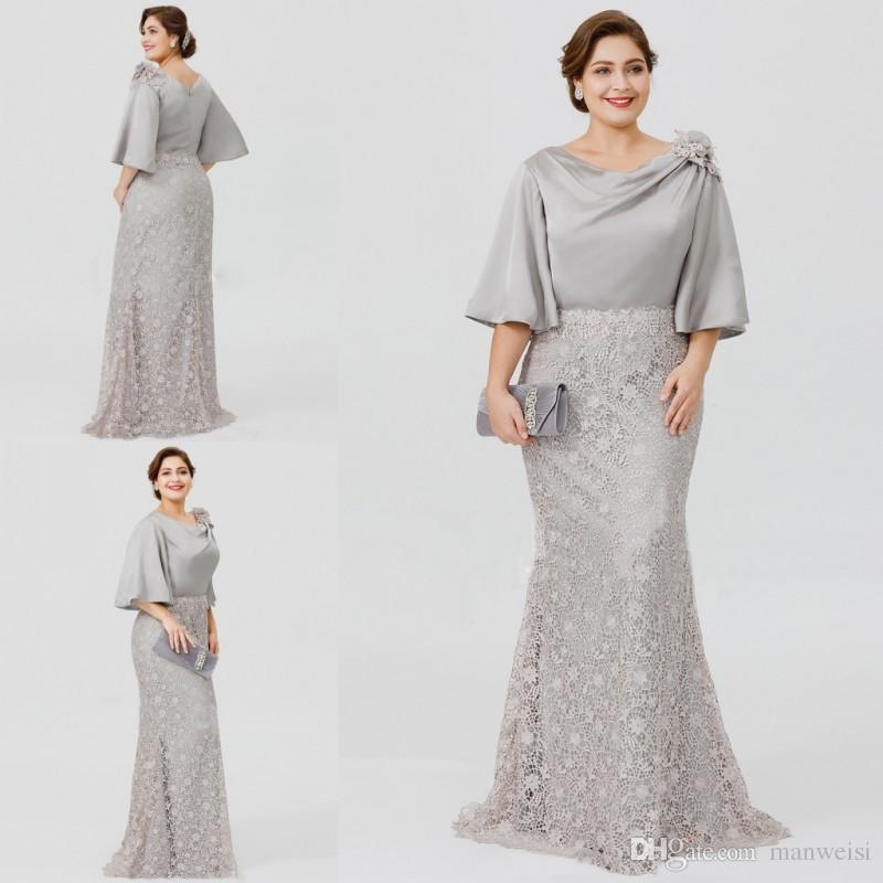 c573f99f7b9 Satın Al 2019 Yeni Gümüş Zarif Anne Gelin Elbiseler Yarım Kollu Dantel  Mermaid Düğün Konuk Elbise Artı Boyutu Örgün Abiye Giyim