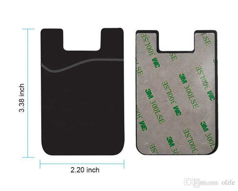 Universal Silicone Portefeuille Carte de crédit Cash Cash Pocket Sticker Porte-adhésif Pochette Téléphone 3M Gadget pour iPhone X 8 7 6 6S plus DHL