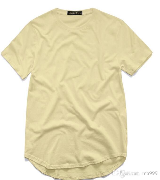 201men's T Shirt Kanye West Extended T-Shirt Men's clothing Curved Hem Long line Tops Tees Hip Hop Urban Blank Justin Bieber Shirts TX135-R3