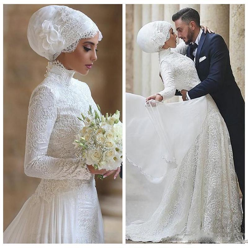 2018 Vestidos de Casamento Muslados de Luxo Árabe Dubai Pescoço Alto Mangas Longas Lace Appliques Vestidos Noiva Vestidos de Novia