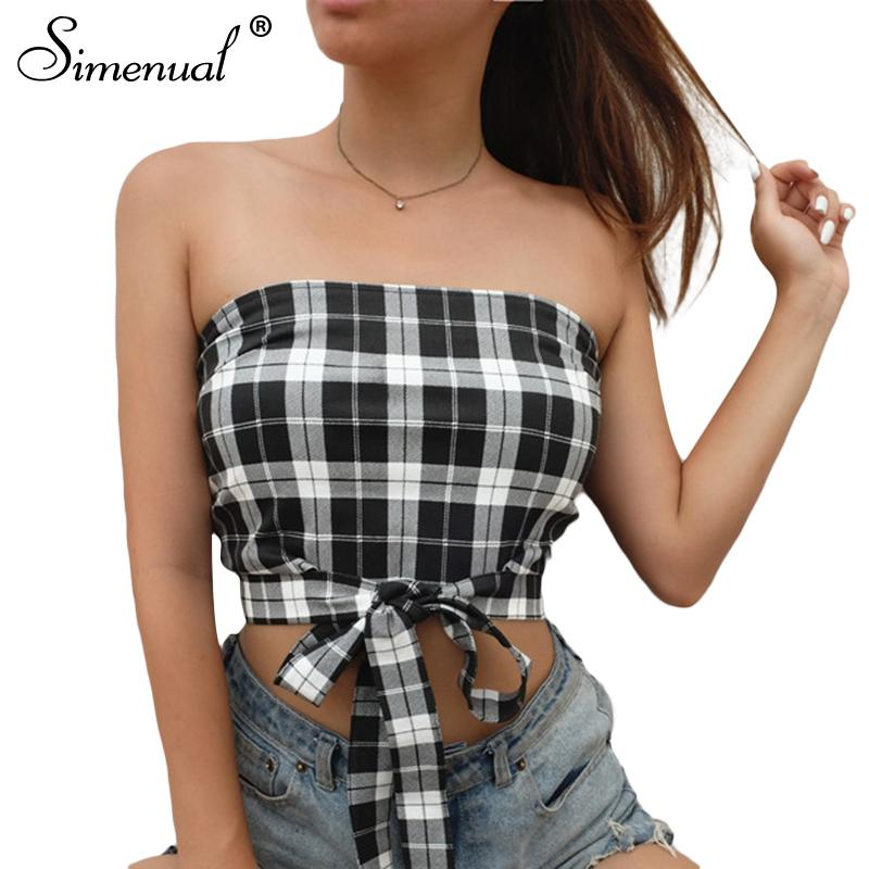 d2ea0931886 2019 Simenual Fashion Checker Tube Top Crop Female Shirt Strapless Front Bow  Tie Plaid Short Camisole Tanks Tops Summer 2018 Cropped From Yuanbai