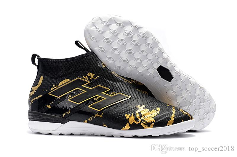 sale retailer 919f5 197da 2018 Gold Black White Messi ACE Tango 17 Purecontrol TF/IC Indoor Soccer  Shoes 100% Original ACE 17 Football Boots