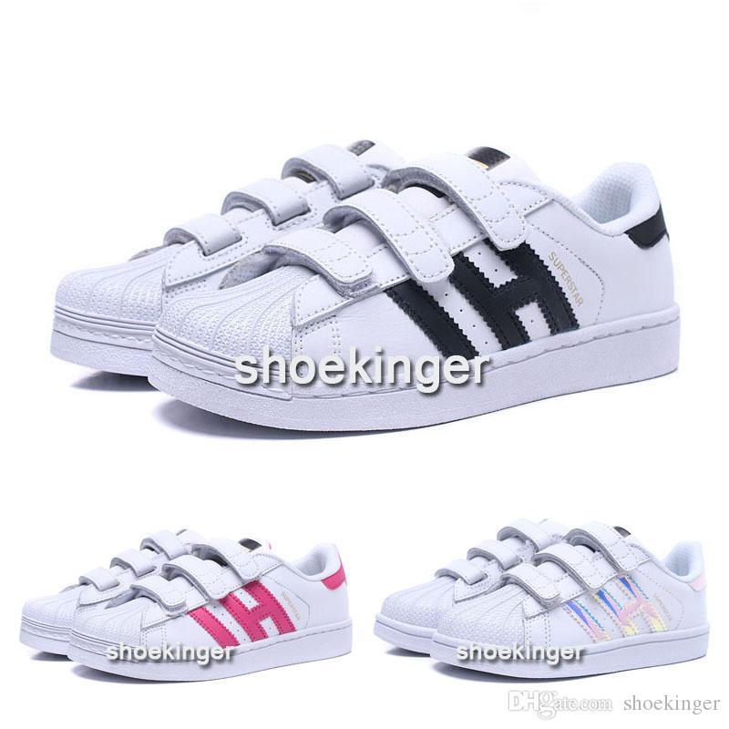 separation shoes 2fd75 28efb Acquista Taglia 22 35 Ragazzi Ragazze Bambini Multi Superstar Hook Loop Scarpe  Bambini Bambino Samba Stan Smith Rosa Bianco Blu Scarpe Casual A  32.49 Dal  ...