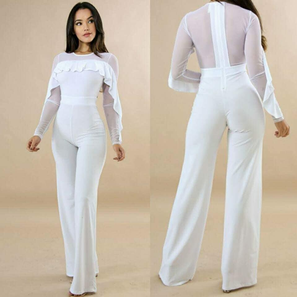 c30f6d5b1e 2019 2018 New Sexy Clubwear Overalls For Women Jumpsuits Playsuits Mesh Long  Sleeve Wave Ruffles Long Rompers Pants Black White From Dalivid