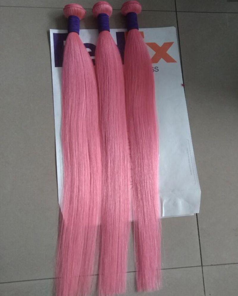 New Sale Hot Pink Colorful Human Hair Weave Extensions Brazilian Silky Straight Virgin Remy Hair Weft 3 Bundles