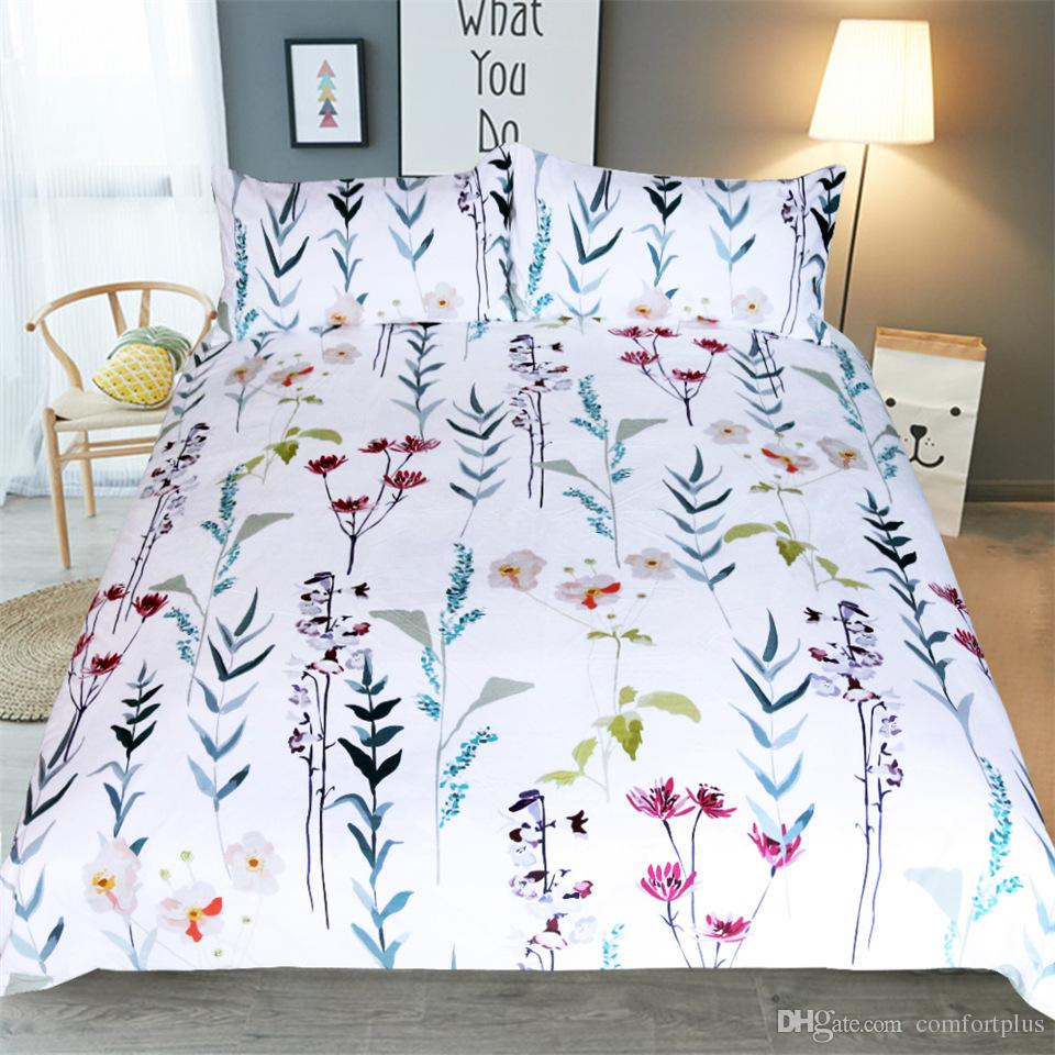Floral Pineapple Design Bedding Set Of Duvet Cover Set Quilt Cover & Pillowcase Twin Full Queen King Size