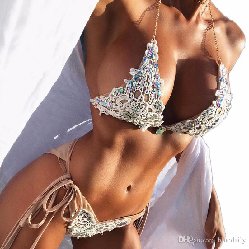 9c61759b9a7 2019 Sexy Crochet Jewel String Tie Side Halter Bikini Two Pieces Swimsuit  Female Swimwear Women Bathing Suit Bather From Bluedaily