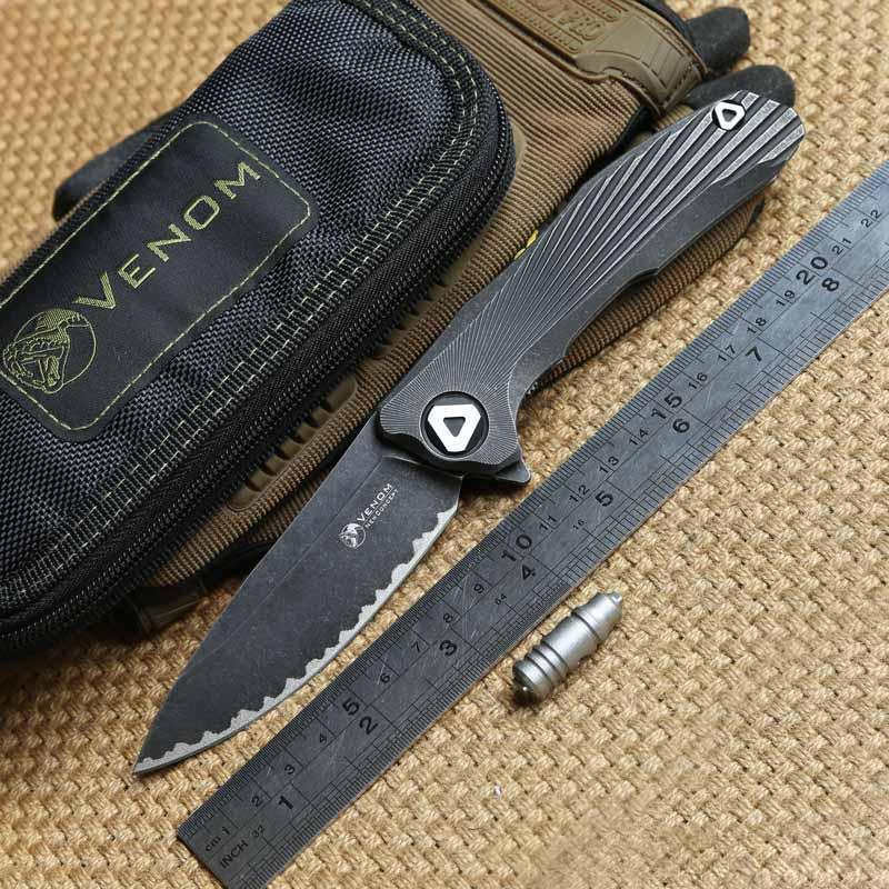 KEVIN JOHN katlanır bıçaklar S35vn bıçak VENOM Yeni Konsept Katlanır rulman Flipper Bıçak Titanyum kolu açık kamp survival bıçaklar