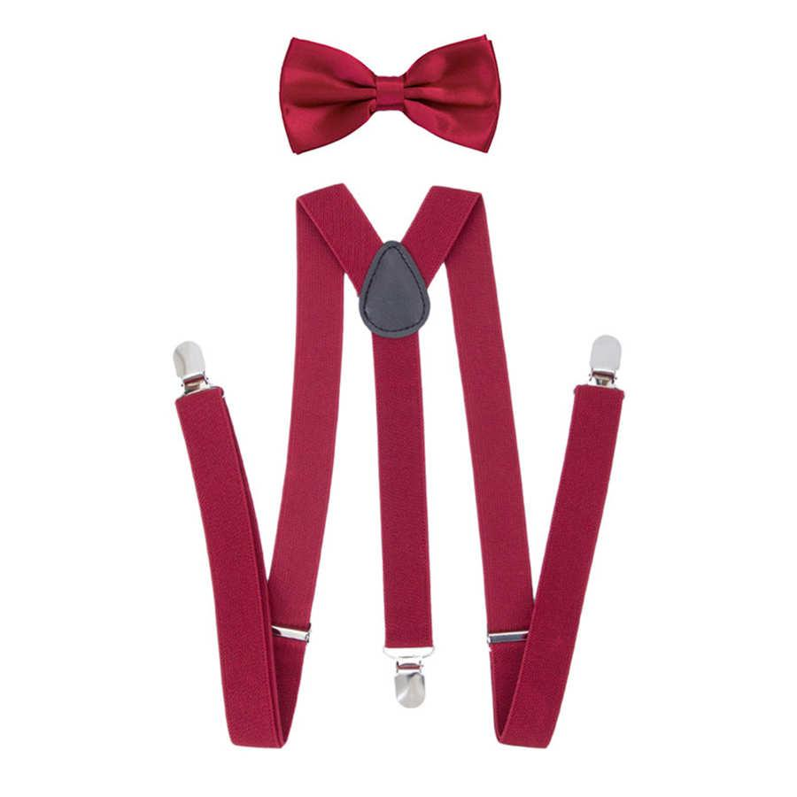 85709764f8a6 Kids Elastic Suspenders Bow Tie Set Matching Tuxedo Suit Unisex Boy Girl  Bowtie Wedding Costume Adjustable Y Back Brace Belt Black Stockings Cargo  Shorts ...