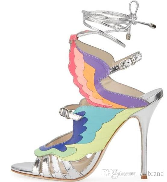 European American summer new rainbow color matching wings high heel sandals fashion open toe ankle lace sandals banquet shoes