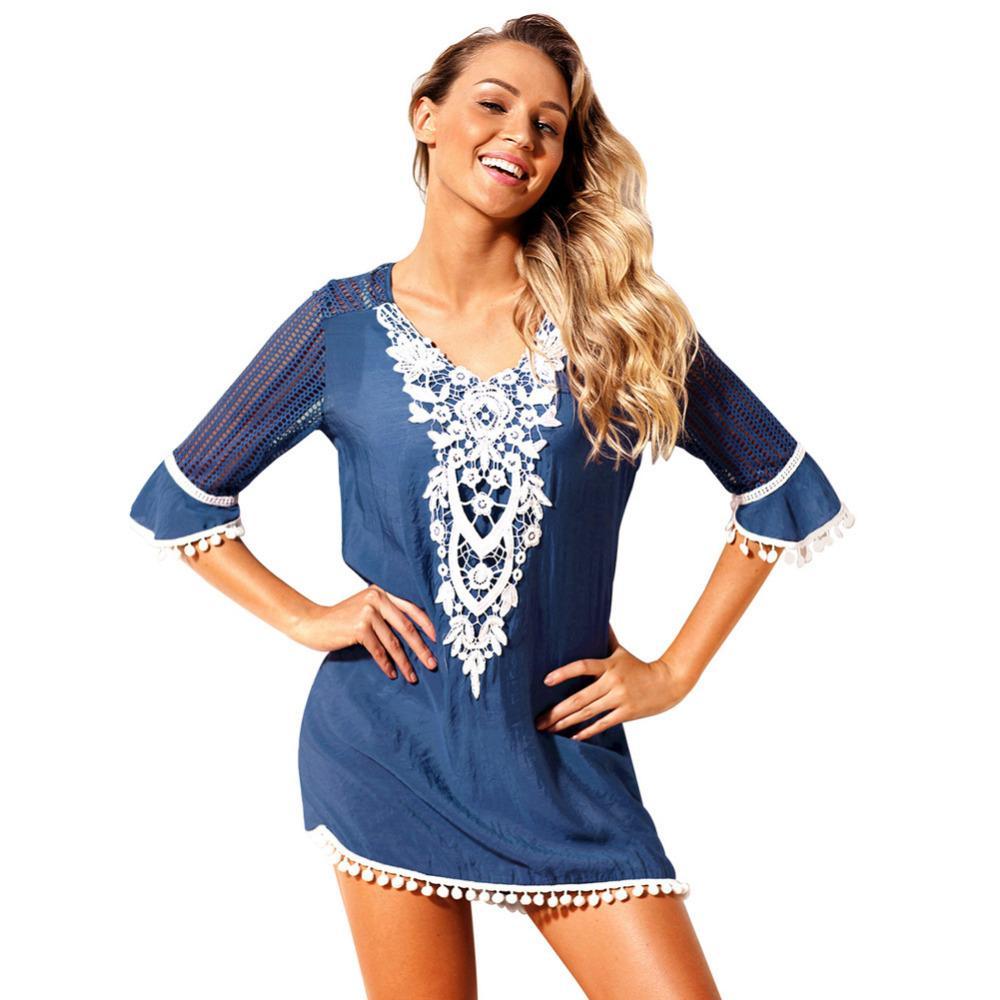 Großhandel Abdeckung Frauen Sexy Kleid Spitze Strand Häkeln tChdQrsx