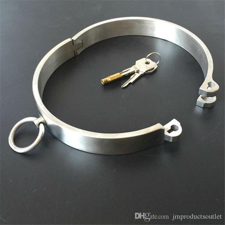 Heavy Metal BDSM Collar puro pulido a mano 304 # Collar de acero inoxidable para mujeres y hombres Restricciones de esclavitud