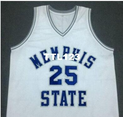 100% authentic a2e39 59343 free shipping MEMPHIS STATE College JERSEY #25 PENNY HARDAWAY blue,White or  customize Any number Men Stitched Jersey