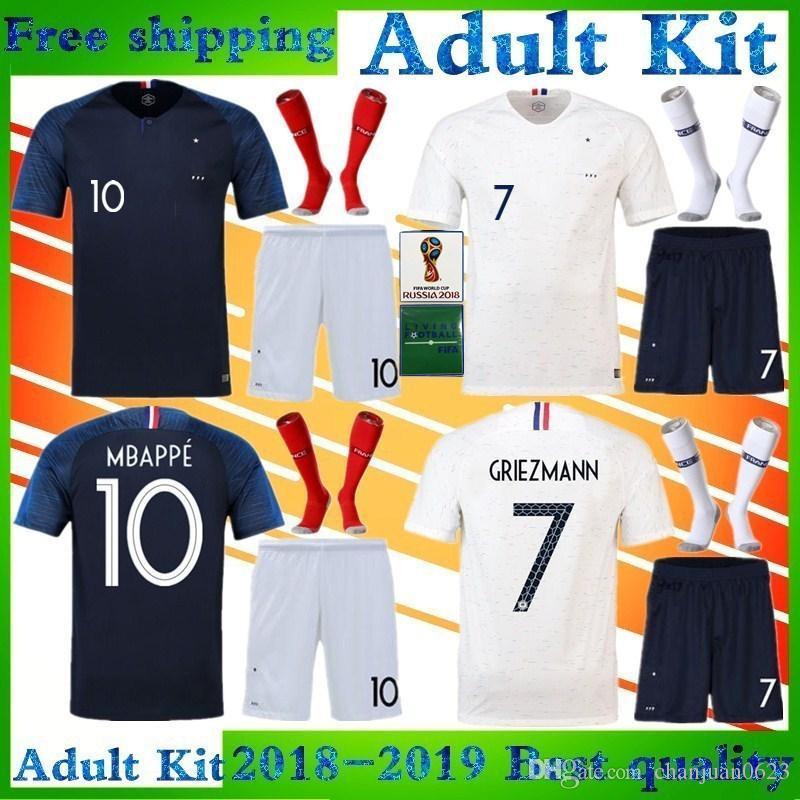 Mbappé Football Uniform Adult Kit GRIEZMANN Soccer Jersey 2018 Home ... fb6e99dfe