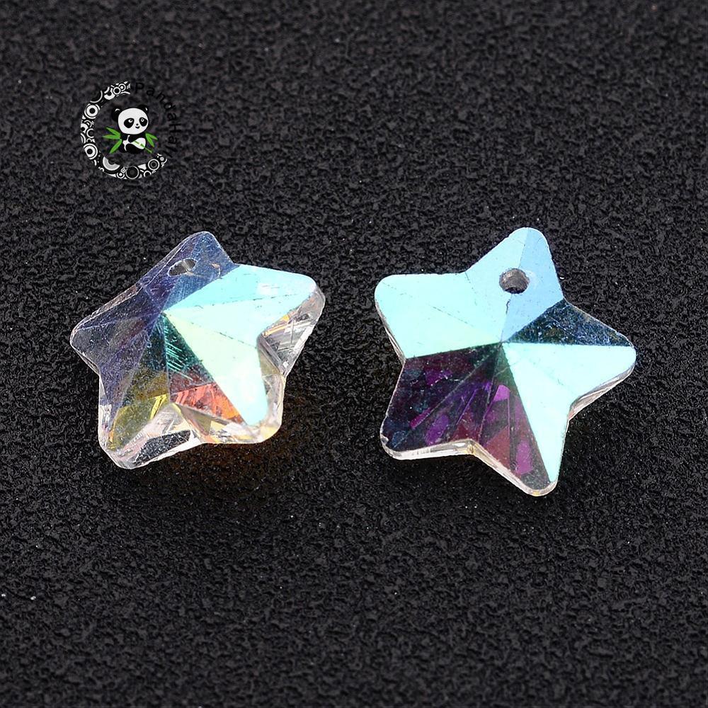 ec189fb800be 10 unids Estrella Colgantes de Cristal Facetado Transparente Charms Granos  de La Manera Para La Fabricación de Joyas AB Color Plateado 13mmx7mm ...