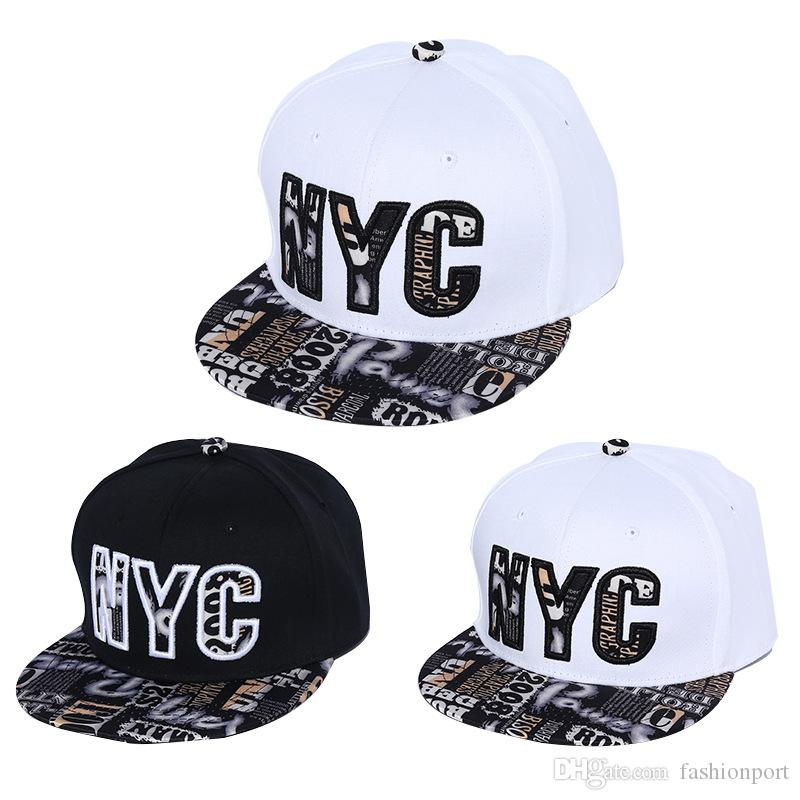 9483d9c231c NYC Embroidery Flat Bill Hip Hop Caps Fashion Patterns Baseball Hats  Glitter Jazz Gorras For Men Women Lovers Fitted Millinery Richardson Hats  From ...