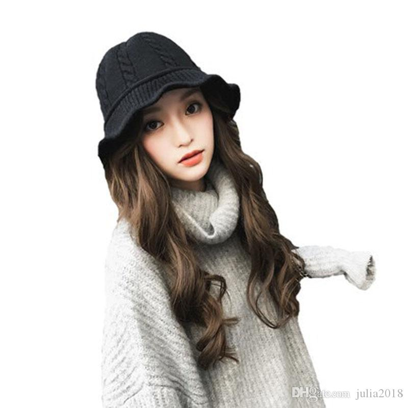 3d4c3f8cb01 New Arrival Fashion Winter Women Wool Bucket Hats Classic Wide Brim  Fisherman Caps Female Girls Casual Knitted Hats Casquette UK 2019 From  Julia2018