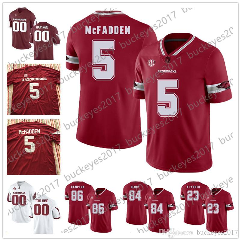 Arkansas Razorbacks  5 Darren McFadden 23 Lance Alworth 84 Hunter Henry 86  Dan Hampton Red White Stitched NCAA College Football Jerseys UK 2019 From  ... 6bf2088b1