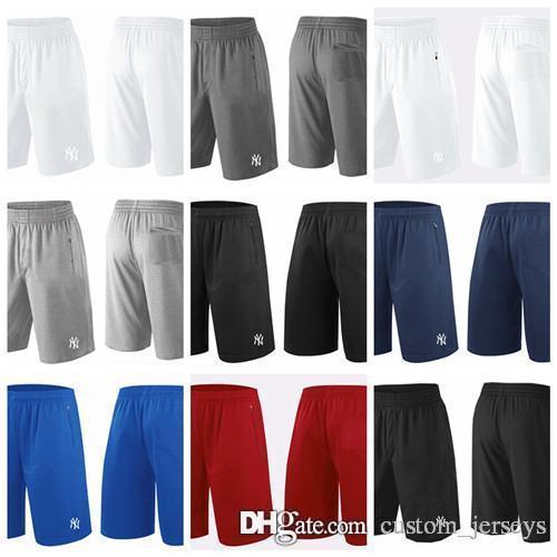 6a797799b77a1 Compre 2018 Pantalones Cortos De Los NY Yankees Para Hombres Blanco Gris  Negro Azul Marino Azul Rojo Franquicia Pantalones Cortos De Rendimiento  Tamaño ...