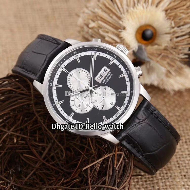 02d0047a44e8 Date New Commander M016.414.16.061.00 Black Dial White Sub-dial Miyota  Quartz Chronograph Mens Watch Silver Case Leather Strap Gent Watches ...
