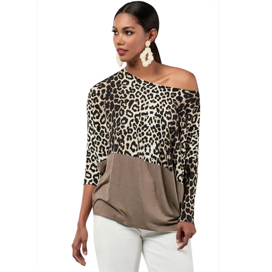 cb79d4fcca Sexy Women S One Shoulder Tops T Shirt Patchwork Leopard Tshirt Long Sleeve  Shirt Leopard Print T Shirt Cotton T Shirt Create T Shirts From Guocloth