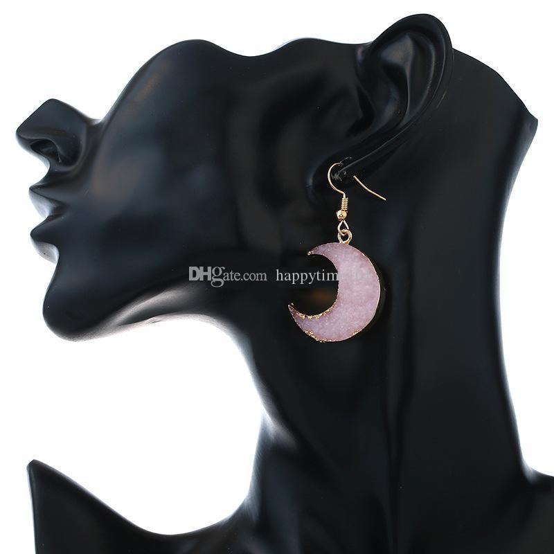 Moda Drusy Druzy Brincos Banhado Ouro Geometria Pedra Dangle Moon Brincos Para As Mulheres Jóias
