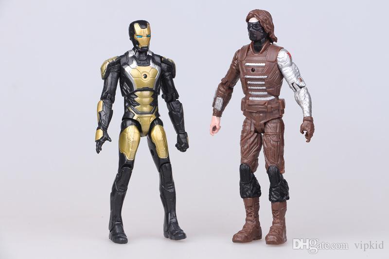 A decoração Toy Movable Capitão América 3 Civil War 10 Avengers União Iron Man Spiderman Falcon Run