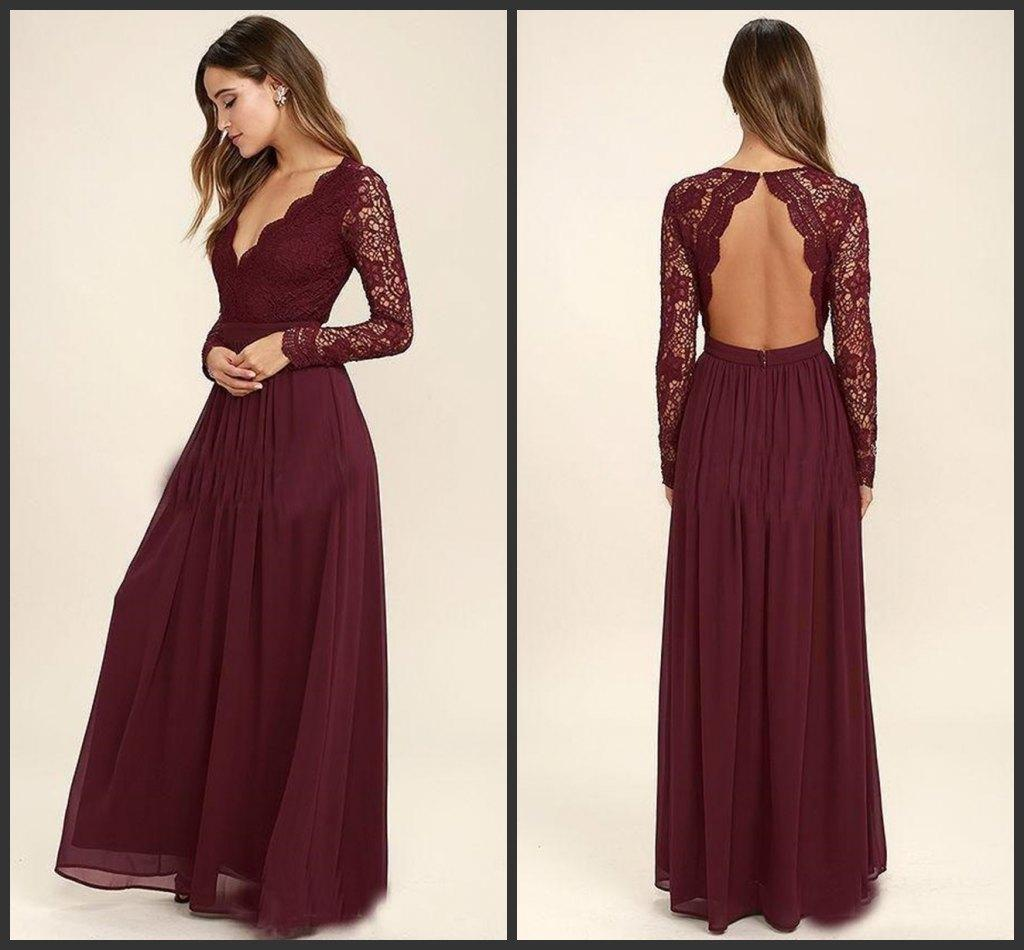New 2018 Lace Burgundy Bridesmaid Dresses Chiffon Skirt Illusion Bodice Long Sleeves A-Line Junior Bridesmaid Dresses Cheap for sale